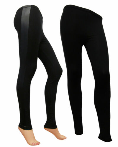 New Ladies PU Wet Look Lace Up Side Panel High Waist Full Length Legging Trouser