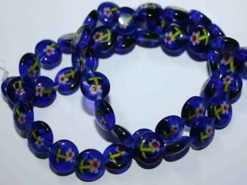 Rectangle Round 8mm Blue White Purple Yellow Red Green Mixed  Millefiori Beads