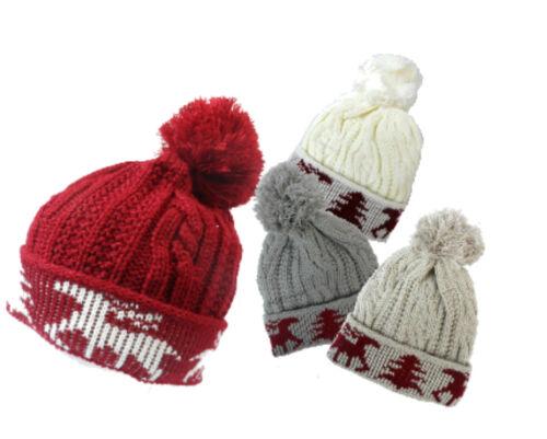 Ladies Knitted Beanie Hat  Womens Reindeer Bobble Pom Pom Ski Adults Warm Cap