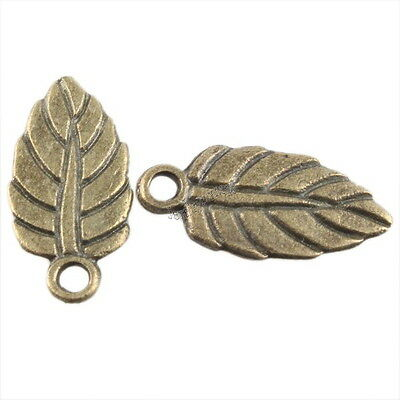 80pcs New Vintage Bronze Tone Small Leaf Charms Alloy Pendants Findings 144446