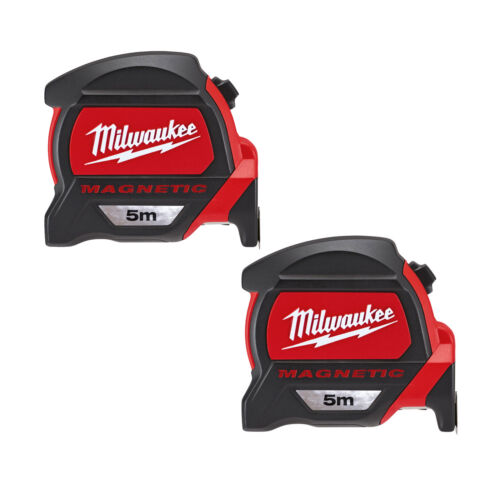 MILWAUKEE 48227305 GEN2 Magnetic Tape Measure 5m Metric Only Twinpack