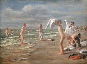 Boys-Bathing-on-the-beach-Max-Liebermann-fine-art-canvas-print