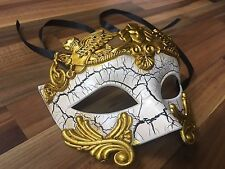 Mens Masquerade Mask Filigree White Venetian Ball Prom Christmas Party Phantom