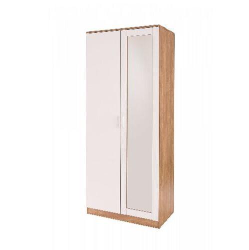 Ottowa White Gloss /& Oak 2 Door Mirror Mirrored Wardrobe Bedroom last one!