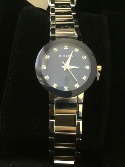 0093f8b4d3f2 Bulova 8 Diamonds Roman Numerals Blue Dial Two Tone Men's Watch 98D130 Sd9