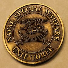 Naval Special Warfare Unit Three Bahrain Brass Navy Challenge Coin / SEAL / 3