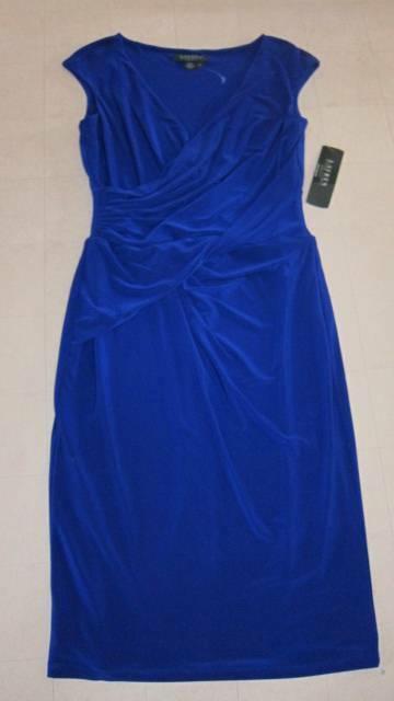 Ralph Lauren Deep Azure Ruched Dress For damen Sz 8  - NWT