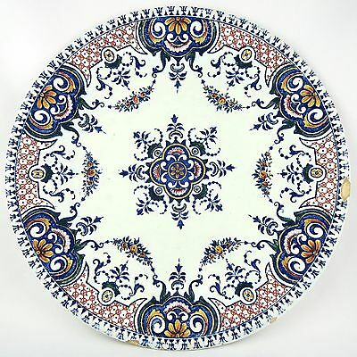 """Ancienne Assiette Faïence De Gien """"rouen"""" French Antique Ceramic 19th Polychrome Jade Blanco"""