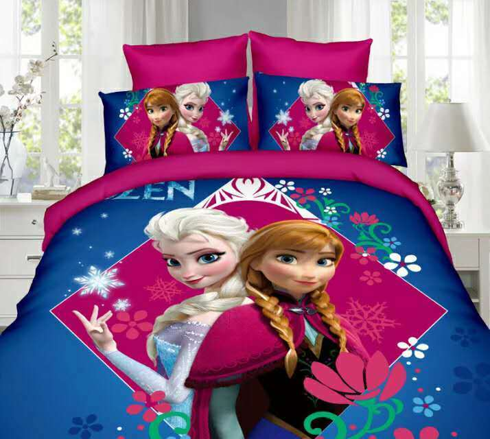 3pcs frozen print duvet cover single twin size bluee Alsa Anna bedspreads kids