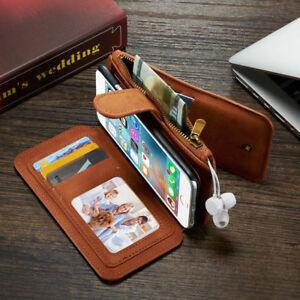 Para-iPhone-XR-XS-S8-S9-Plus-X-caso-Zip-Damas-Bolso-de-Abatible-Billetera-Cartera-Movil