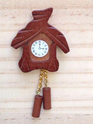 Miniature Dollhouse FAIRY GARDEN Accessories ~ Wood Wooden Cuckoo Clock