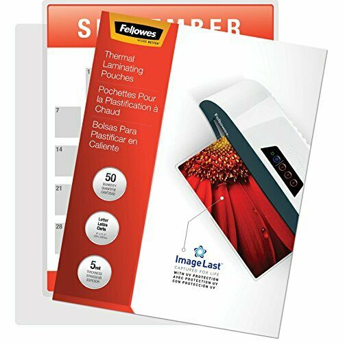 5 Mil Jam Free Fellowes Thermal Laminating Pouches 50 Letter Size ImageLast