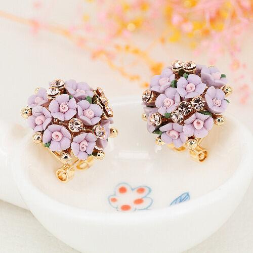 Mode Frauen Elegante Blume Kristall Strass Ohrstecker Ohrring Schmuck Neu