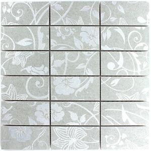 Teros Feinsteinzeug Mosaik Fliesen Ornament Flower Hellgrau 10mm