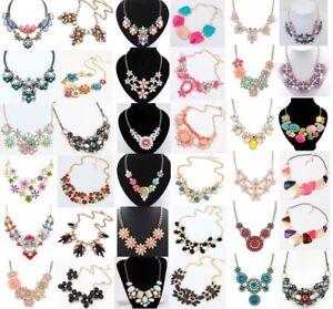Women-Crystal-Jewelry-Chain-Pendant-Choker-Chunky-Bib-Statement-Necklace-Flower