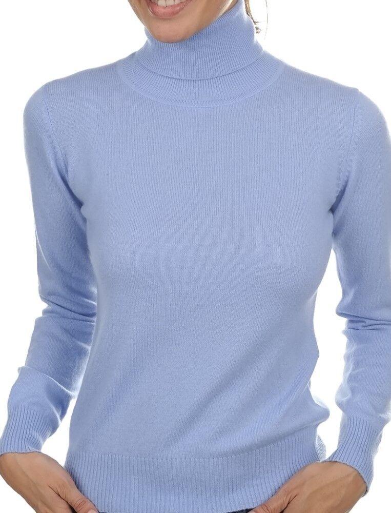 Balldiri 100% Cashmere Donna Pullover Collo Collo Collo Alto con bordi elastici azzurro cielo XXL db7a91
