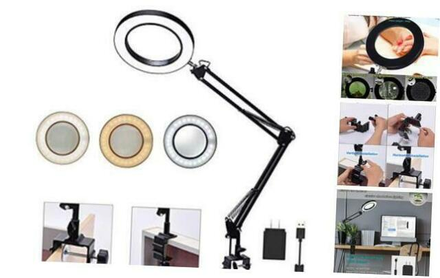 NEWACALOX Large Desk Clamp Magnifier LED Lamp with USB LED 5X Magnifying Loupe