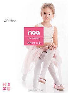 Knittex-Girls-White-Tights-Musical-Pattern-40-Denier-Age-2-10-Style-DoReMi