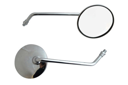 8mm Universal Fit Small Motorbike Mirrors Chrome Round for Scooter Moped