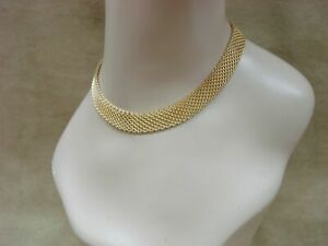 ANTIQUE-VICTORIAN-GOLD-FILLED-MESH-CHOKER-NECKLACE-SIGNED-CZECHOSLOVAKIA-15-034
