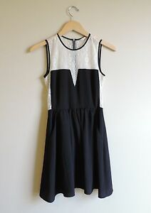 Women-039-s-Rachel-Roy-Black-amp-White-Lace-Dress-Size-0
