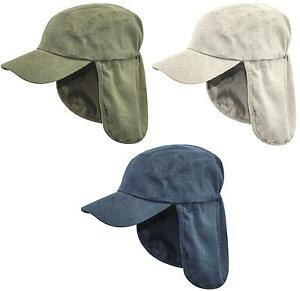 a8a68d356de0a MENS LEGIONNAIRES HAT 100% cotton sun safe bush cap Gents wide neck ...