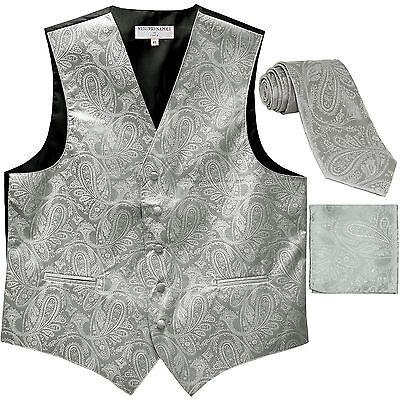 New Men/'s Formal Vest Tuxedo Waistcoat/_necktie set stripes wedding party white