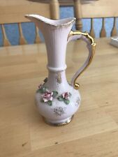 Lefton bud vase #1847W hand painted white bisque/pink roses