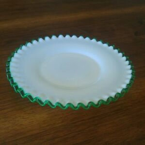 Fenton Emerald Crest Ruffled Edge 8 1/2 inch Plate Vintage Green & Milk Glass