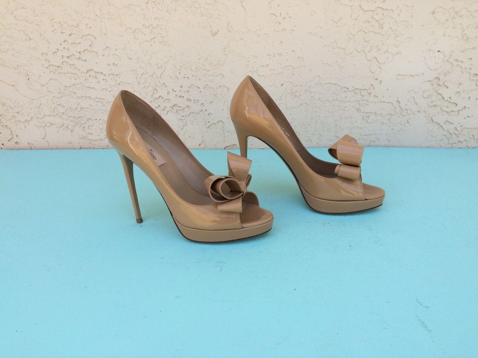 Valentino Garavani Couture Bow Platform Open Toe Pump Beige Patent Patent Patent Leather Sz 40 53ecf4
