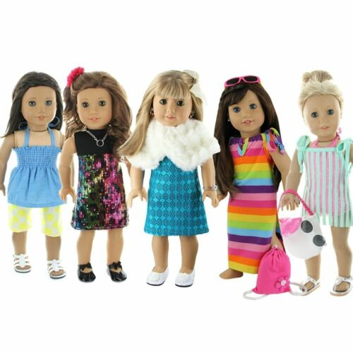 "5 Sets Doll Clothes 28 Pc  Casual Party Beach Outfit Fits 18/"" American Girl Doll"
