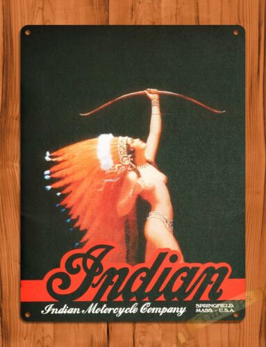 """/""""Indian Motorcycle/"""" Oil Gas Garage Vintage Wall Decor TIN SIGN"""