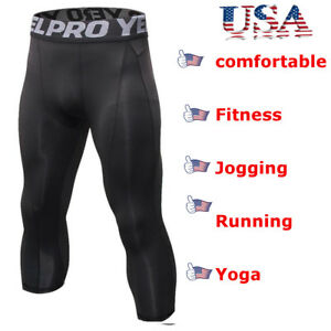 Men-Compression-Shorts-3-4-Cropped-Pants-Gym-Clothes-Base-Layers-Running-Tights