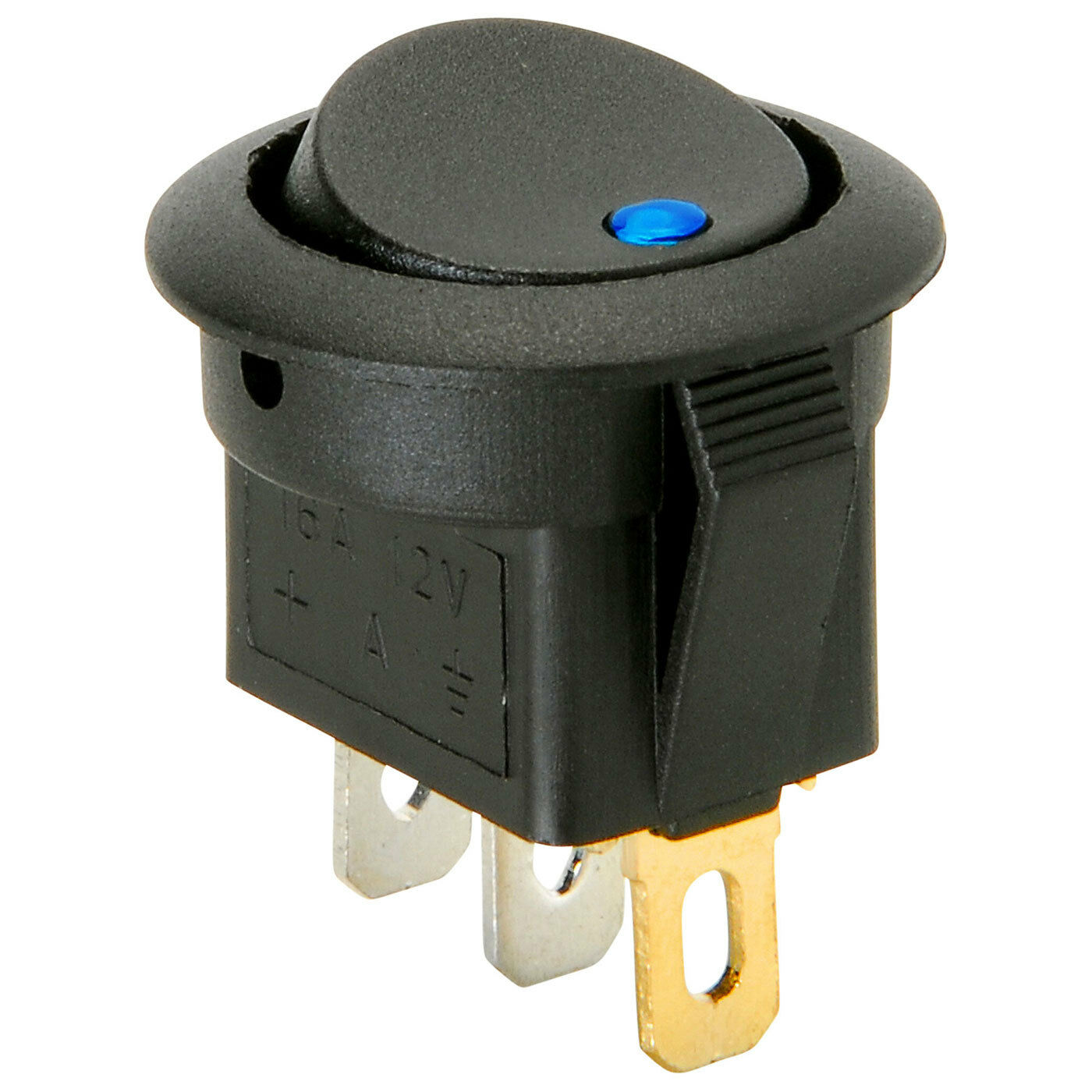 Parts Express Spst Automotive Round Rocker Switch With Blue Led 12v 3 Prong Toggle Ebay Norton Secured Powered By Verisign