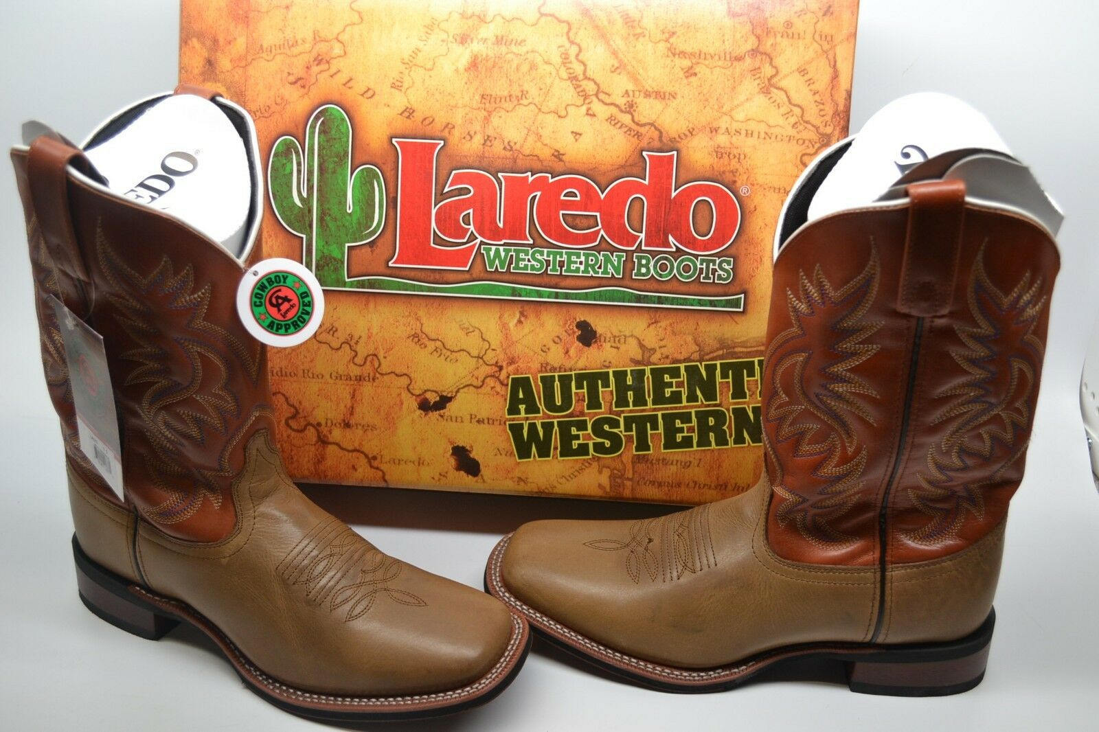 Men Laredo Tan/Orange BROAD SQUARE TOE Western Cowboy Leather Work Boot 13 D