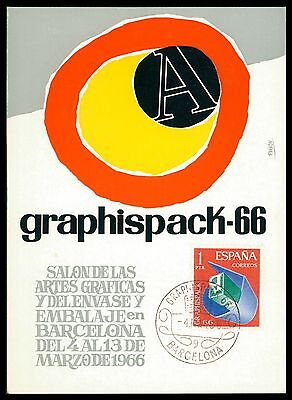 Arbeitswelt-branchen Diverse Philatelie Brillant Spain Mk 1966 Barcelona Graphispack Grafik Graphic Carte Maximum Card Mc Cm Ce96