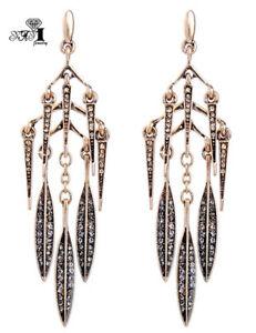 Mode-Mehrfarbige-Kristall-Antike-Gold-lange-Ohr-Ohrstecker-Creolen-Quasten-Ohrringe