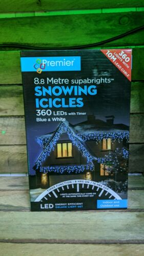 Premier Led Snowing Icicles warm white Blue and White 180,240,360,480+ White
