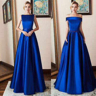 Two Neck Style Royal Blue Bridesmaid