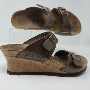 Birkenstock Papillio Dorothy Sandal Womens 7 Brown Birkoflor Wedge Shoes EU 37