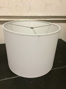 Details About Contemporary Fabric Drum Lamp Shade 14 W X 13 Ht White