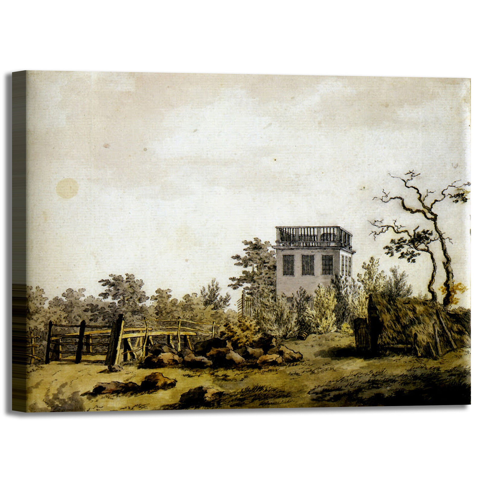 Caspar paesaggio con padiglione quadro stampa tela dipinto telaio arrossoo casa