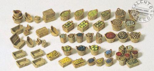 PREISER 17502 set 56 baskets various for fruit mercato 1/87