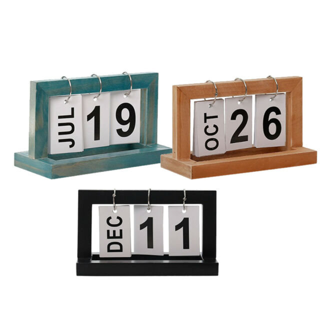 Picture A Christmas Flipchart.Wooden Flip Chart Card Number Perpetual Desk Calendar For Home Office Decor
