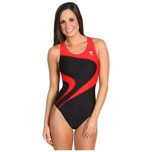 fac49bd44b TYR ALLIANCE T-SPLICE MAXBACK ONE PIECE SWIMSUIT BLACK RED SIZE 32 ...