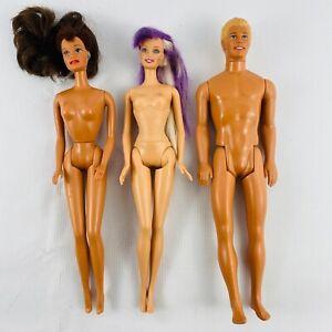 Barbie-Doll-Lot-of-3-Nude-Dolls-1990s-Ken-Blonde-Brunette-Purple-Soft-Midsection