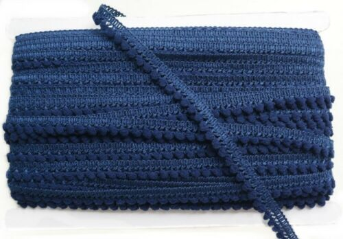 Navy Blue Mini Pompom Fringe Tiny Ball Trim Lace Scraf Sewing Woven Braid Supply