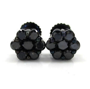 6mm-1-00ct-Mens-Ladies-14k-Yellow-Real-Gold-Black-Diamond-Cluster-Earrings-Studs