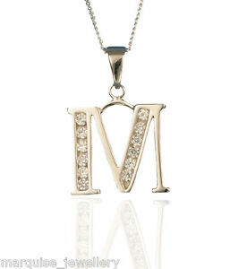 6922c88d1b Image is loading 925-Sterling-Silver-Initial-Letter-Pendant-amp-Chain-