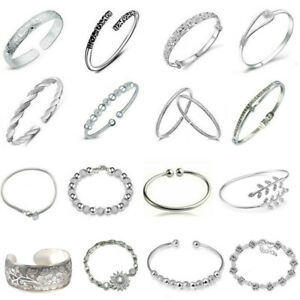 Women-Jewelry-Bangle-Charm-925-Sterling-Solid-Silver-Crystal-Cuff-Chain-Bracelet